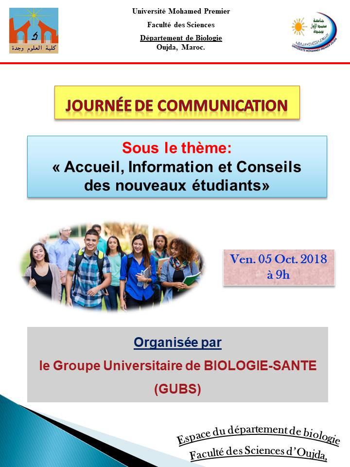 Journée de communication sous thème : « Accueil, Information et Conseils des nouveaux étudiants »