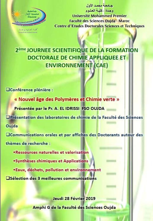 2ème journée Scientifique de la formation doctorale de Chimie Appliquée et Environnement