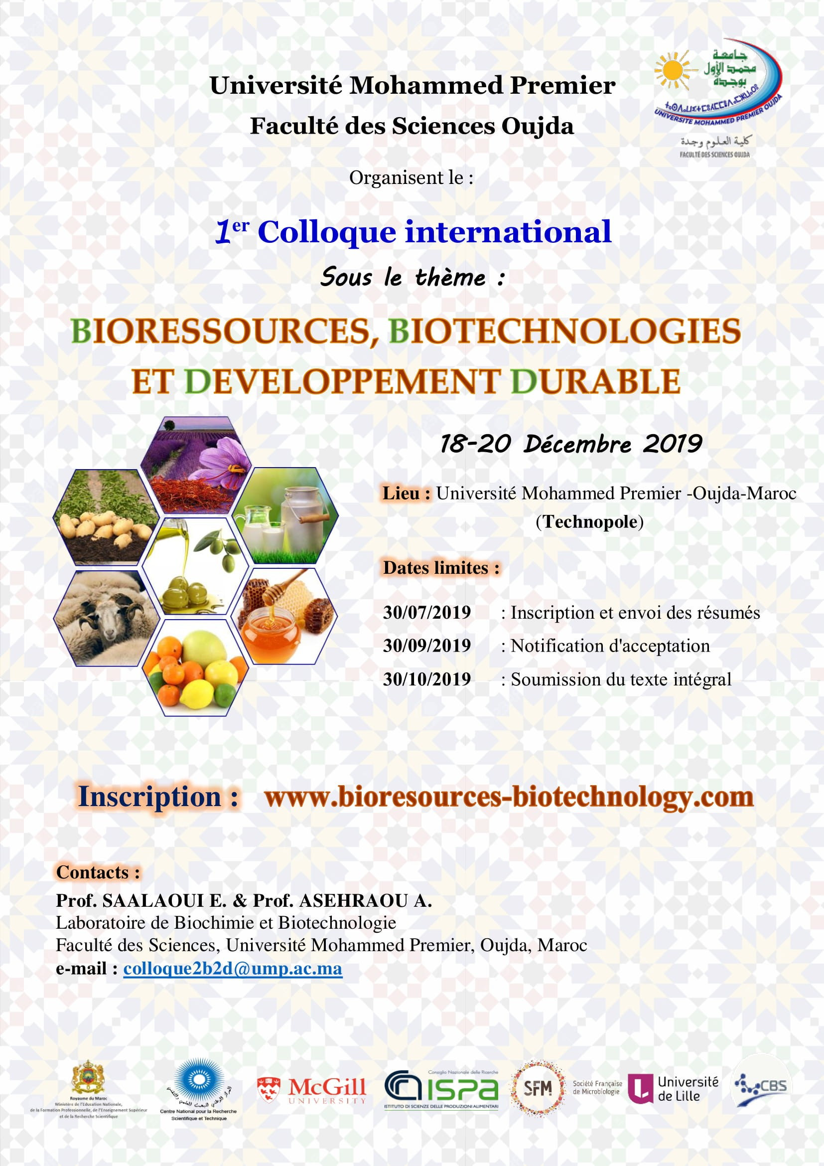 1er Colloque international : BIORESSOURCES, BIOTECHNOLOGIES ET DEVELOPPEMENT DURABLE