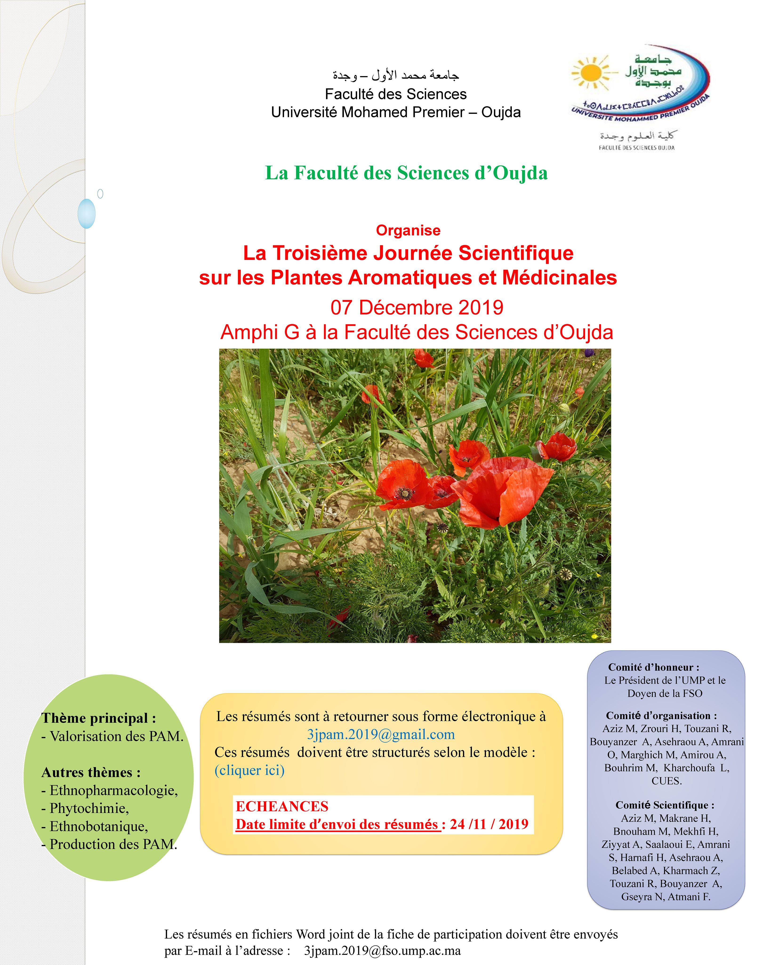 Troisième Journée Scientifique sur les Plantes Aromatiques et Médicinales