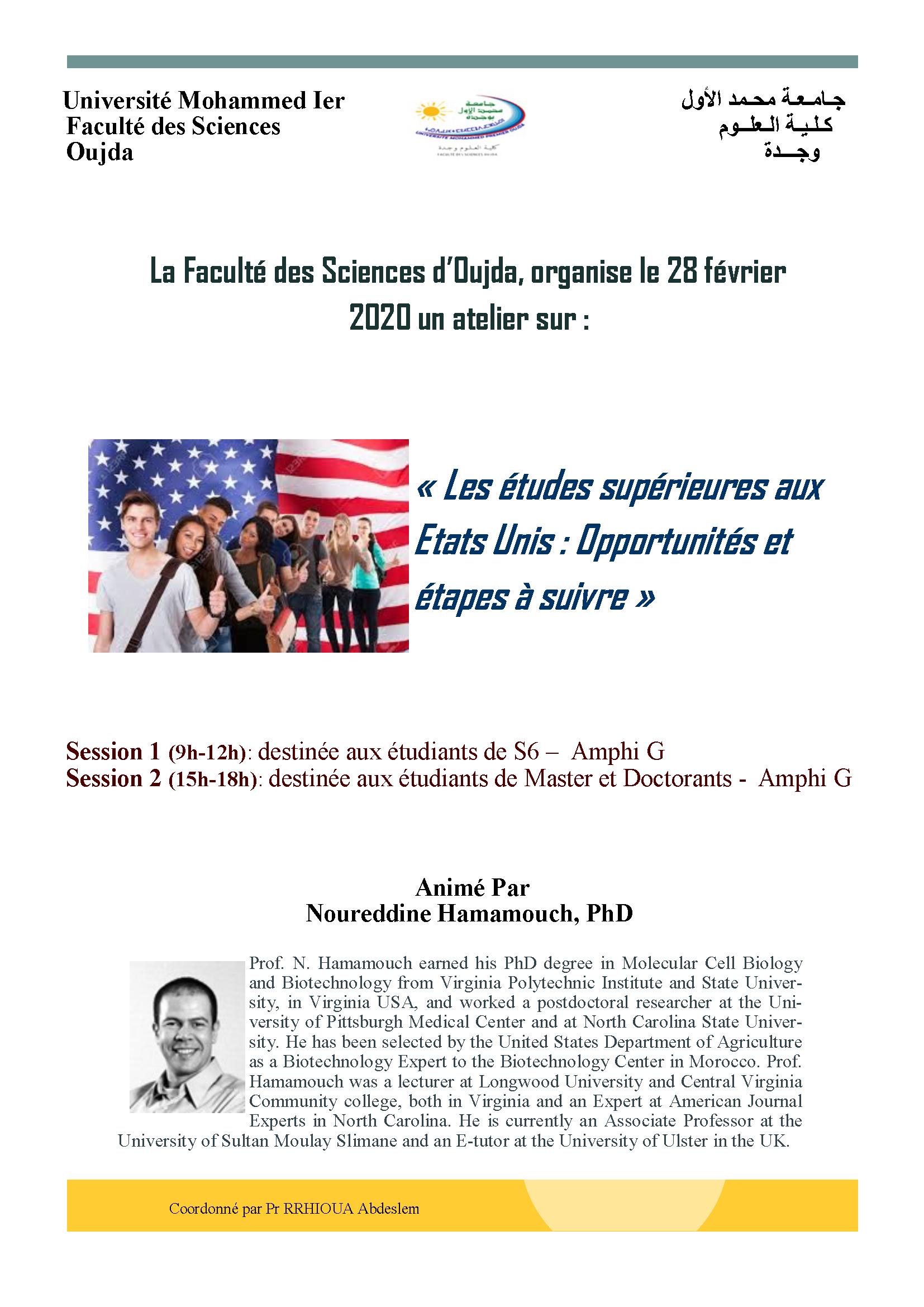 Atelier : Les études supérieures aux Etats Unis : Opportunités et étapes à suivre