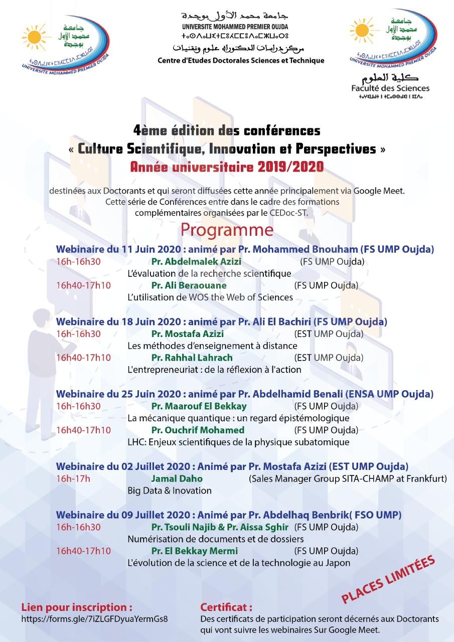 """4ème édition des conférences """"Culture Scientifique, Innovation et Perspectives"""""""